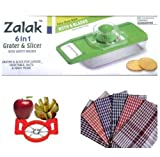 PGS Combo of Apple cutter, 6 in 1 Grater and slicer with 2 cloths