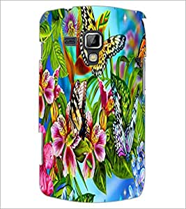 PrintDhaba Butterflies and Flowers D-2175 Back Case Cover for SAMSUNG GALAXY S DUOS S7562 (Multi-Coloured)
