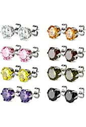Charisma Stainless Steel Cubic Zirconia Pave Crystal Round Square Stud Earrings Gift for Girls Women