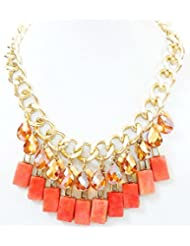 BID4DESRIE GOLDEN CHAIN WITH ORANGE CRYSTALS NECKLACE FOR WOMEN