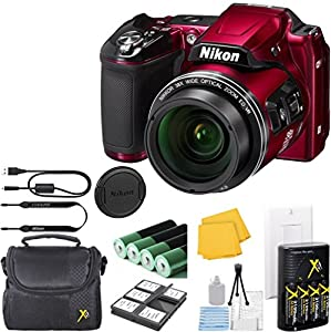 Nikon COOLPIX L840 Digital Camera Bundle with 38x Optical Zoom and Built-In Wi-Fi Red (WHITE BOX PACKAGING, NEW CAMERA) + Camera Case + 6pc Starter Kit + Charger