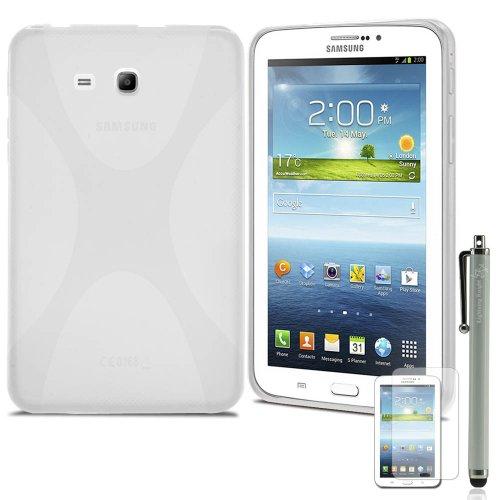 Lk X Design Slim Tpu Gel Rubber Soft Skin Case Cover For Samsung Galaxy Tab 3 Lite 7.0 T110 / T111 & Free Stylus Pen + Screen Protector (Galaxy Tab 3 Lite 7.0, Clear)