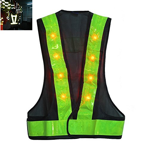 "Hot! 16 Led Light Up Cycling Traffic Outdoor Night Safety Warning Vest With Reflective Stripes Fit Up To 40"" Waist"