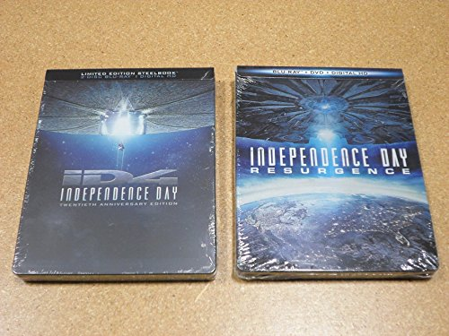 Independence Day 20th Anniversary Edition   Independence Day: Resurgence Limited Edition Steelbook Lot (Blu Ray + Digital HD)