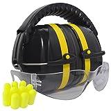 防音保護器具イヤーマフ 耳栓5ペア安全メガネ付きNRR37dB耳栓と併用で