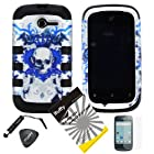 4 items Combo: ITUFFY(TM) LCD Screen Protector Film + Mini Stylus Pen + Case Opener + Silver Blue Crown Skull Design Rubberized Hard Plastic + Black Soft Rubber TPU Skin Dual Layer Tough Hybrid Case for Huawei Ascend Y M866/ H866 / H866C (Straight Talk / U.S.Cellular)