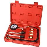 TecTake Kit testeur de compression compressiomètre pour moteur essence 0-20 bars ou 0-300 psi avec 4 adaptateurs de 10 à 18 + coffret