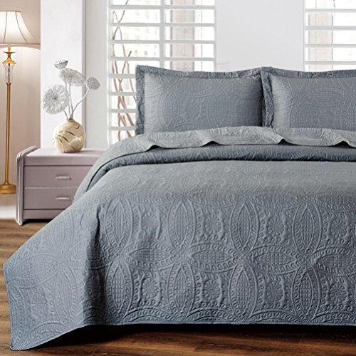 Mellanni Bedspread Coverlet Set Charcoal - BEST QUALITY Comforter Oversized 3-Piece Quilt Set (King / Cal King, Gray) (Oversized King Quilt Gray compare prices)