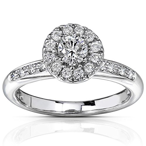 0.58 Carat Halo Affordable Diamond Engagement Ring with Round cut Diamond on 18K White gold