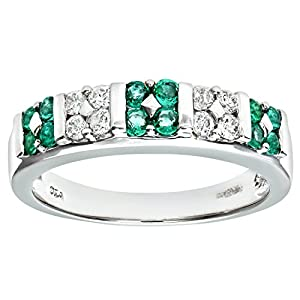 Ariel 9ct White Gold Emerald And Diamond Fancy Eternity Ring