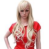 Hsg Elegant Lady Blond Wigs Long Curly Wigs Oblique Bangs Fluffy Wavy Hair Wig Tf2059