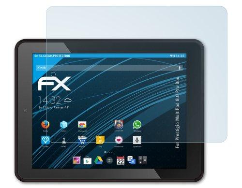 2 x atFoliX Prestigio MultiPad 8.0 Pro Duo Displayschutzfolie - FX-Clear kristallklar