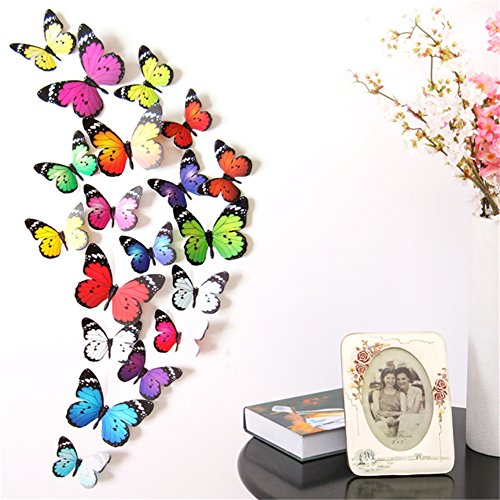 Prefer Green 2 X 19 PCS 3D Colorful Butterfly Wall Stickers DIY Art Decor Crafts (H-017 C)