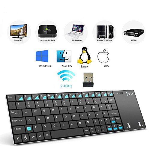 ( New Released )Rii K12+ Ultra Slim 2.4Ghz Mini Wireless Multi-Media Handheld Kodi Keyboard With Large Size Touchpad Mouse, Stainless Steel Cover For Pc,Laptop,Google Smart Tv,Raspberry Pi2/3, Macos,Linux Htpc Iptv,Android Box,Xbmc,2000 Xp Vista 7 8 10