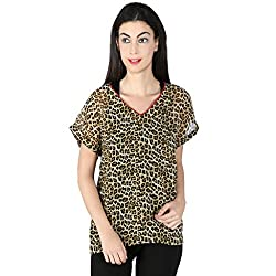 Isadora Casual Short Sleeve Animal Print Women's Top