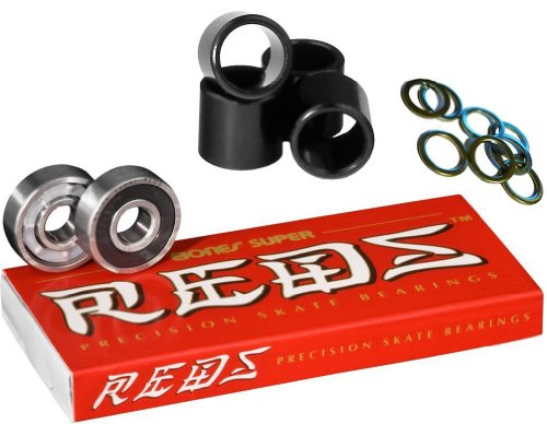 Bones Super Reds Bearings, 8 Pack set With FREE Bones Spacers & Speed Washers (Super Bones Reds compare prices)