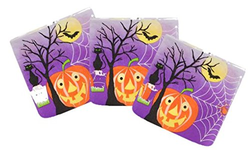Whimsical Pumpkin Halloween Paper Napkin 3 Pack Bundle - 1