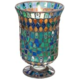Peacock Splendor Mosaic Hurricane Candle Holder