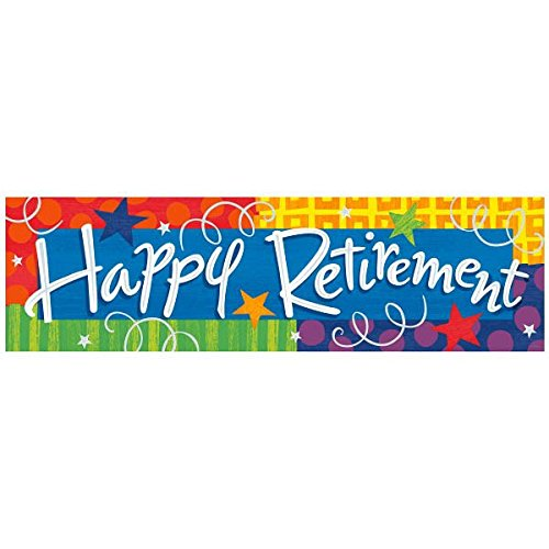 "Amscan Colorful Happy Retirement Giant Party Sign Banner, 65"" x 20"", Multicolor"
