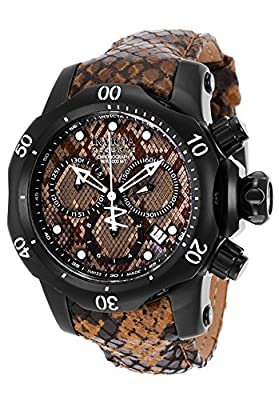 Invicta Womans Venom Reserve Chrono Brown and Black Genuine Leather Multi-Color Dial Watch