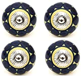 Knobs and Hooks Ceramic Cabinet Knob (Set of 4, Black and Yellow)
