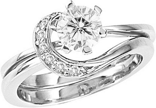 925 Sterling Silver Cubic Zirconia Engagement Promise Ring Set