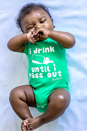 Fayebeline Boutique Quality Baby Onesie I Drink Until I Pass Out Funny Baby Gift, Apple, 0-6M