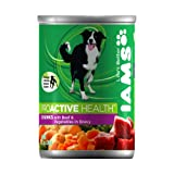 IAMS Dog Food Chunks with Tender Beef & Vegetables Simmered in Gravy, 12.3-Ounce Cans (Pack of 12)