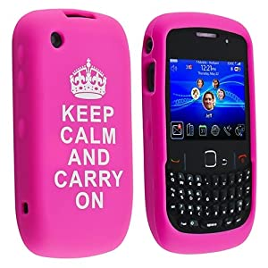 eForCity Silicone Skin Case Compatible with BlackBerry Curve 8520 / 9300, Hot Pink with - Keep Calm And Carry On - Quote from eForCity