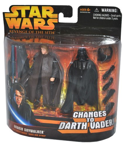 51mibsVpi%2BL Cheap  Star Wars Year 2005 Revenge of the Sith Changes to Darth Vader Series 4 Inch Tall Action Figure Set   ANAKIN SKYWALKER with Red