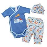 Zutano Baby-Boys Dog Walk Short Sleeve Onesie, Hat and Legging Set