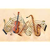 Metal Instrument And Music Notes Wall Art