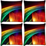 Snoogg Abstract Mixed Color Pack Of 4 Digitally Printed Cushion Cover Pillows 18 X 18 Inch