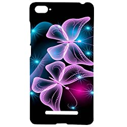 Casotec Butterflies Neon Light Design Hard Back Case Cover for Xiaomi Mi 4i