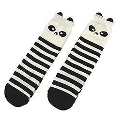 Shorven Baby Kids Cotton Socks Knee High Long Socks 2 Packs Panda M