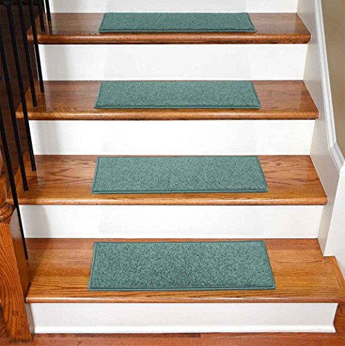 StepBasic Non-Slip Rubber Backing Resistant Carpet Stair Gripper Set of 7 - Teal ( 8.5
