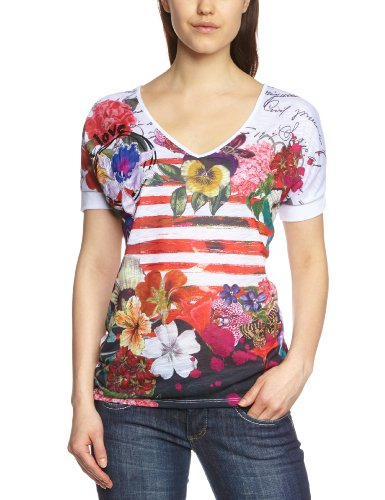 Desigual Ana - Camiseta de manga corta para mujer, Beige, Large