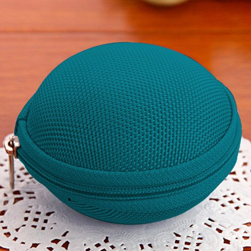 Cute Round Hard Storage Storage Purse Wallet Case For Earphone Headphone Earbuds Sd Tf Cards Mini Bag (Green 07)