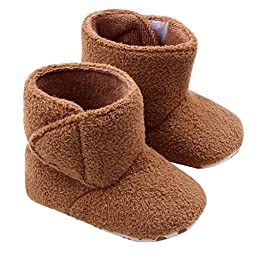 Mosunx Toddler Infant Baby Cute Coral Fleece Soft Sole Warm Shoes Boots (12, Khaki)