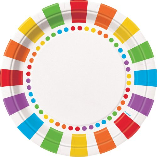 Great Features Of Rainbow Party Dinner Plates, 8ct