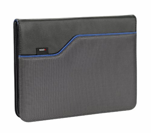 SOLO Classic Collection iPad and e-Reader Jacket with Zipper, 9.7 Inches, Black and Blue, CLA132-4/5 by Solo