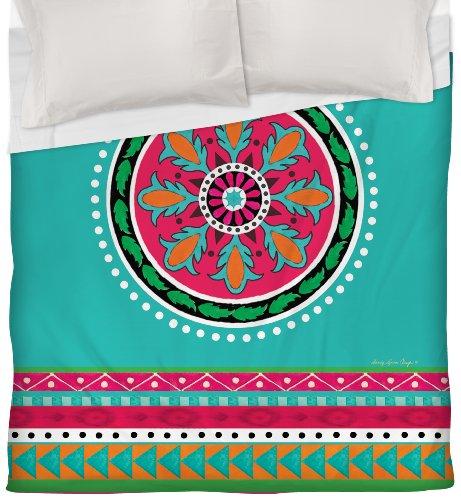Thumbprintz Duvet Cover, Full/Queen, Turquoise Boho Medallion Stripe front-466551
