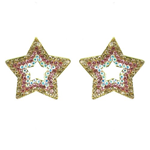 Peach And Pink On Gold Plated Crystal Star Earrings front-840062