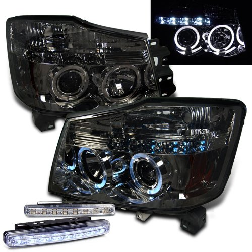 2004-2011 NISSAN ARMADA HALO HEAD LIGHTS PROJECTOR HEADLIGHTS + 8 LED FOG LAMPS (04 Nissan Titan Halos compare prices)