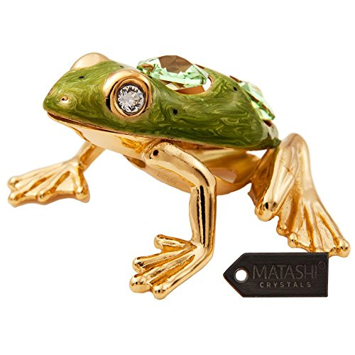 24K Gold Plated Crystal Studded Frog with Enamel Ornament by Matashi (Frog Crystal compare prices)