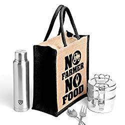 No farmer no food,BlackPrinted jute massenger bag,specially design to carry lunch (Lunch bag,Medium Size, Height:11in, Lenght: 9in, Width:6in)