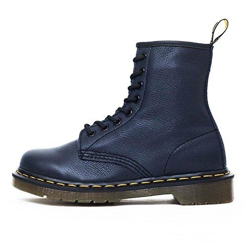 inverno genuino delle signore Retro nabuk Pelle anteriore del legame stivali Martin , hide blue , 40