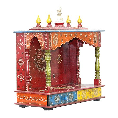APKAMART Handcrafted Wooden Temple For Home - Handcrafted Home Temple for Room D'cor and Worship - 22 Inch