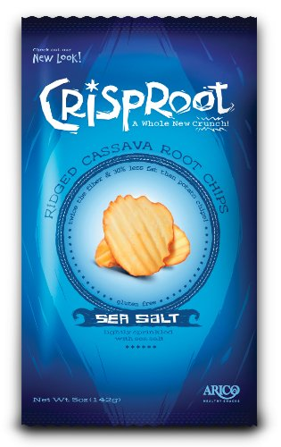 CrispRoot Cassava Chips, Sea Salt Mist, 5-Ounce Bags (Pack of 12)