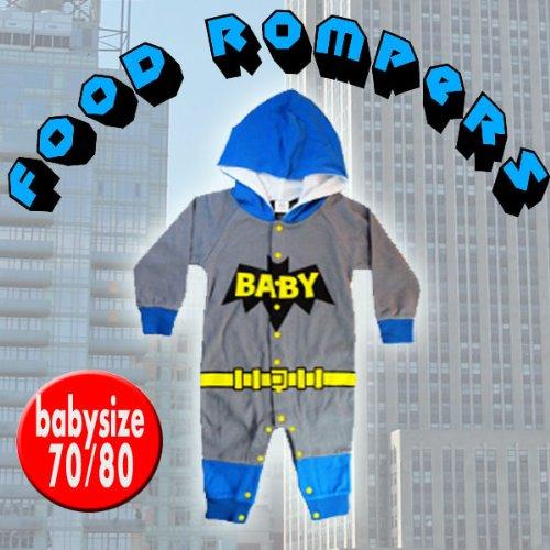 【BATBABY・70サイズ】着ぐるみ風 フード付きロンパース☆フードが付いてカワイさ倍増♪出産祝いにも最適♪